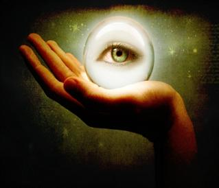 digital art image of hand holding orb with eye inside