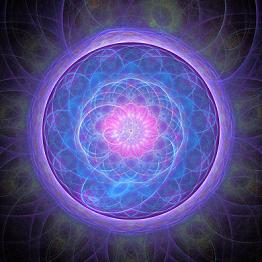 purple mandala cosmic light burst