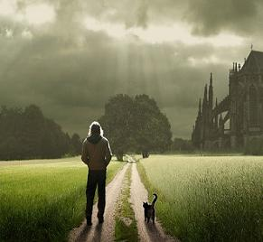 Starseed man walking path alone with cat